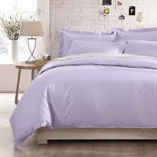 Plum Duvet Cover Set Satin Weave Cotton Pure Color Light Purple Duvet Cover Set Sufey Com