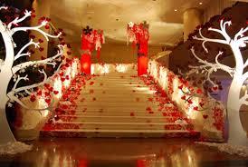 Wedding Reception Decor Elegant Wedding Reception Stairs Decoration Idea Red White