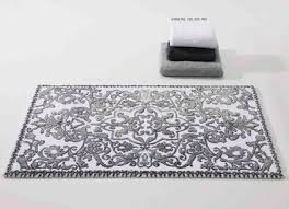 Habidecor Bath Rugs Abyss Habidecor Platinum Bath Rugs Silver And White Scroll