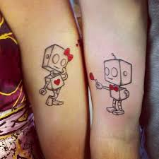 cute love couple tattoo design