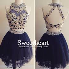 sweetheart dark blue tulle lace 2 pieces short prom dress