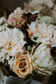 Peach Roses Elopement Bouquet With Peach Roses And Light Pink Dahlias