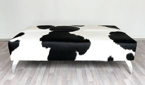 Ottomans Perth Black Ottomans Black And White Cowhide Ottoman With Metal