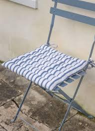bistro seat pad in blue stripe cotton garden trading
