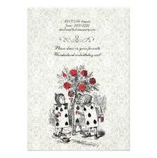 alice in wonderland red hearts tea party birthday invitation card