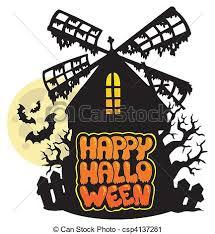 vector clip art of mill with happy halloween sign 1 vector