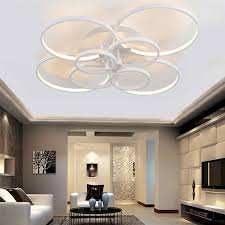 Ceiling Lights For Living Rooms Rings White Finished Chandeliers Led Circle Modern Chandelier