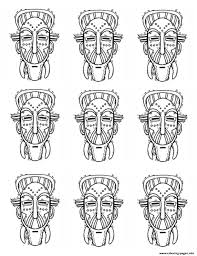 africa masks identicals coloring pages printable