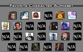 Alphabet Meme - favourite character alphabet meme by ilovelsa123official on deviantart