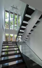 Dark Wood Banister In Vogue Double Stainless Steel Handrail With Sweet Banister Glass