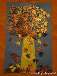 sunnydaytodaymama autumn jigsaw puzzle tree and sensory tub and