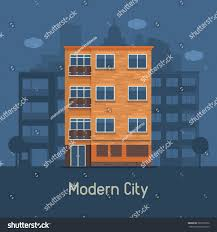 apartment building front view on urban stock vector 587630702