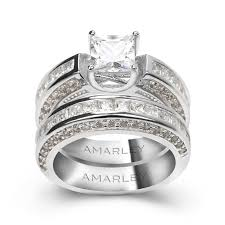 bridal set wedding rings princess cut 1 5 ct lab created diamond bridal set wedding ring set