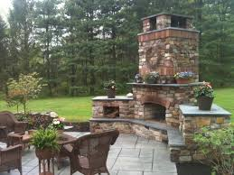 exterior design inspiring backyard fireplace design with rattan