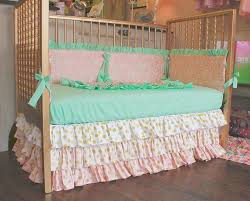 Gold Polka Dot Bedding Mint Pink And Gold Polka Dot Custom Crib Bedding Ombre Crib Skirt