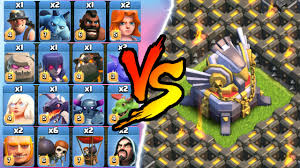clash of clans all troops clash of clans all max troop troll vs one base insane game