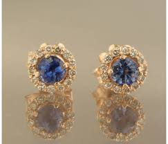 gold ear studs 14 kt gold ear studs set with brilliant cut sapphire and