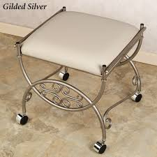 White Vanity Stool For Bathroom by Bedroom Silver Iron With Square White Vanity Stools For Modern