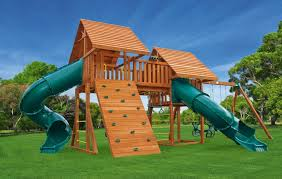 Backyard Playground Slides Fantasy 6 Large Backyard Playset Eastern Jungle Gym