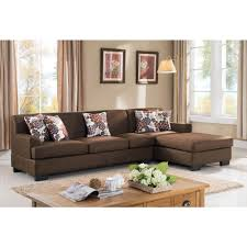 Brown Sectional Sofa With Chaise 2 Brown Linen Sectional S0072 2pc The Home Depot