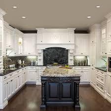 cuisine blanche classique cuisine blanche classique avec ilot brun et comptoir de granit