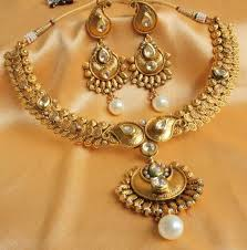 gold antique necklace sets images Buy gorgeous real kundan antique gold tone royal pearl necklace jpg