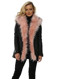 black faux leather coat with pink fur flamant rose