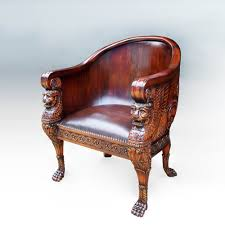 Armchair Shop Lion Tube Armchair Wooden Back Indonesian French Furniture