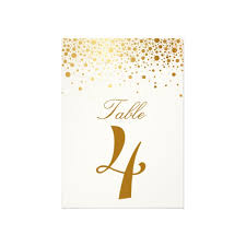 faux foil confetti gold and white table number card luxury