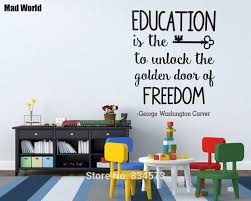 online get cheap school wall stickers quotes aliexpress com mad world education is the key quote school wall art stickers wall decal home diy decoration removable room decor wall stickers