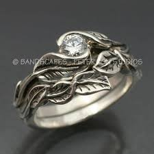 leaf engagement ring wedding ring set delicate leaf engagement ring with matching
