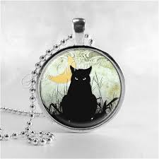 black cat pendant necklace images Black cat necklace crescent moon cat pendant cat jewelry jpg
