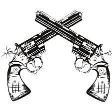 gun twin pistols wall art stickers wall decal transfers wall