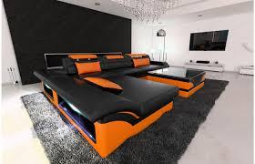 sofa l form designer ledersofa monza l form in schwarz orange exklusiv bei