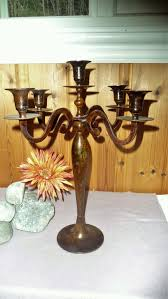 vintage brown metal cast iron large 5 arms candelabra huge candle