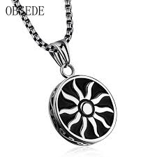 stainless steel necklace pendants images Obsede fashion men jewelry round wheel black sun pendant stainless jpg