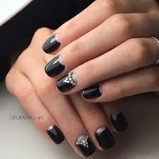 black nails with half moon diamonds easy nail designs
