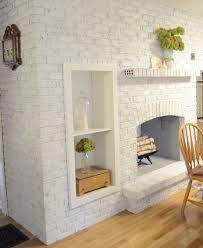 decor elegant fireplace with insert shelves and whitewash brick
