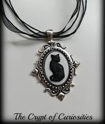 black cameo necklace images Witch wear gothic black cat cameo necklace creepbay jpg