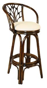cushioned bar stool indoor swivel rattan wicker 30 bar stool in antique finish with