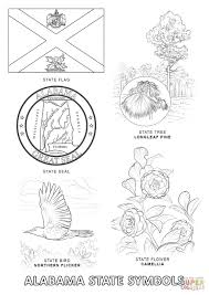 alabama state symbols coloring page free printable coloring pages