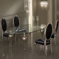 italian designer oval glass dining table and chairs set