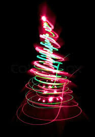 christmas tree with colored lights christmas tree form the color lights on the black background stock
