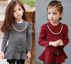 2017 clothes children pearl necklace flower dress factory