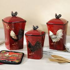 kitchen red rooster themed kitchen pots design what makes