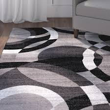 ebern designs allison geometric gray area rug u0026 reviews wayfair