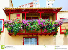 balcony with flowers stock photo image 32788060