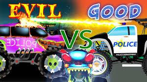 monster truck childrens video good vs evil police cars scary haunted house monster trucks