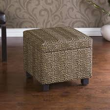 leopard faux leather storage ottoman free shipping today