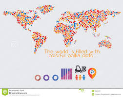 Beautiful World Map by World Map Multicolored Polka Dots Stock Vector Image 50202301